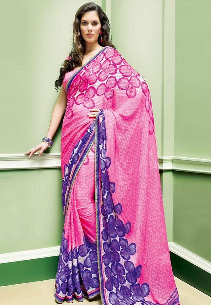 Satin Pink Printed Saree at $76.00 (24% OFF)