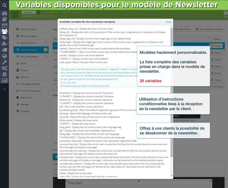 Variables disponibles pour le modèle de Newsletter. Modèles hautement personnalisable.  La liste complète des variables prises en charge dans le modèle de newsletter.  26 variables. Utilisation d'instructions conditionnelles liées à la réception de la newsletter par le client. Offrez à vos clients la possibilité de se désabonner de la newsletter.