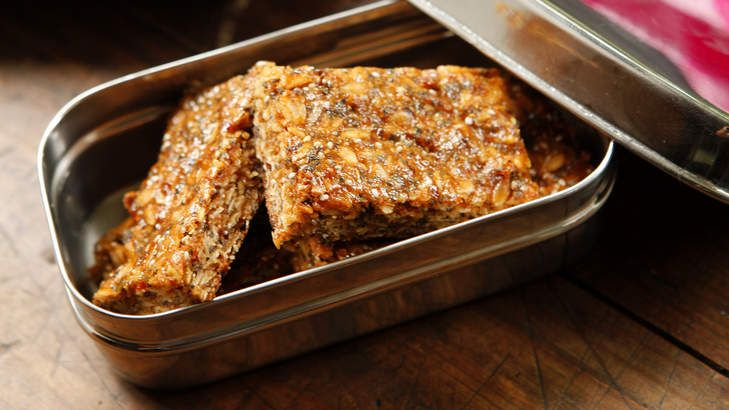 Bake a batch of granola bars. This easy wheat-free slice is super tasty and full of good things. Don't send it all to school with the kids.