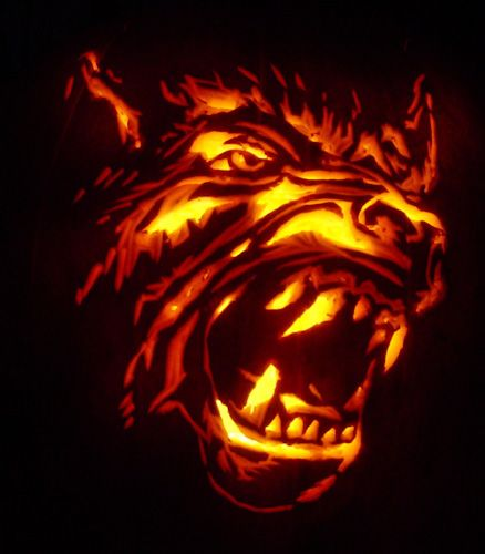 Zombie pumpkin templates werewolf face carving