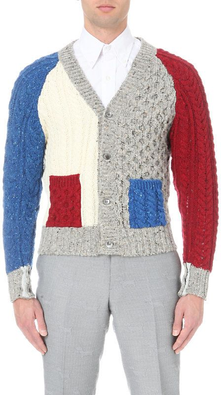 Thom Browne Funmix Cable-Knit Merino Wool Cardigan
