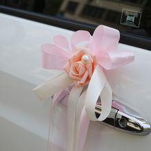 DIY Multi Kleur Bruiloft Auto Decoratie Achteruitkijkspiegel Decor Bloemen Lint Strikje DIY Natuurlijke Kunstmatige Rose Bloemen(China (Mainland))