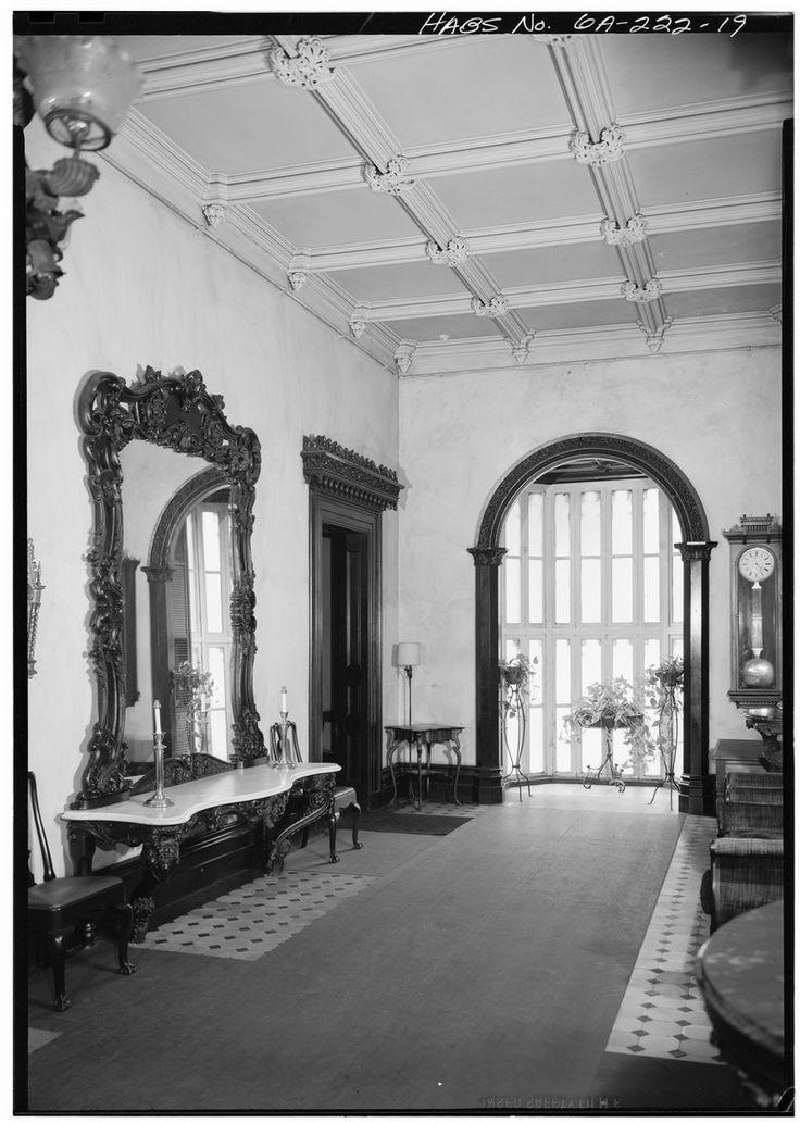 Green-Meldrim House. FIRST FLOOR, ENTRANCE HALL, VIEW NORTH TO BAY WINDOW - Green-Meldrim House, 327 Bull Street, Savannah, Chatham County, GA HABS GA,26-SAV,22-19.tif