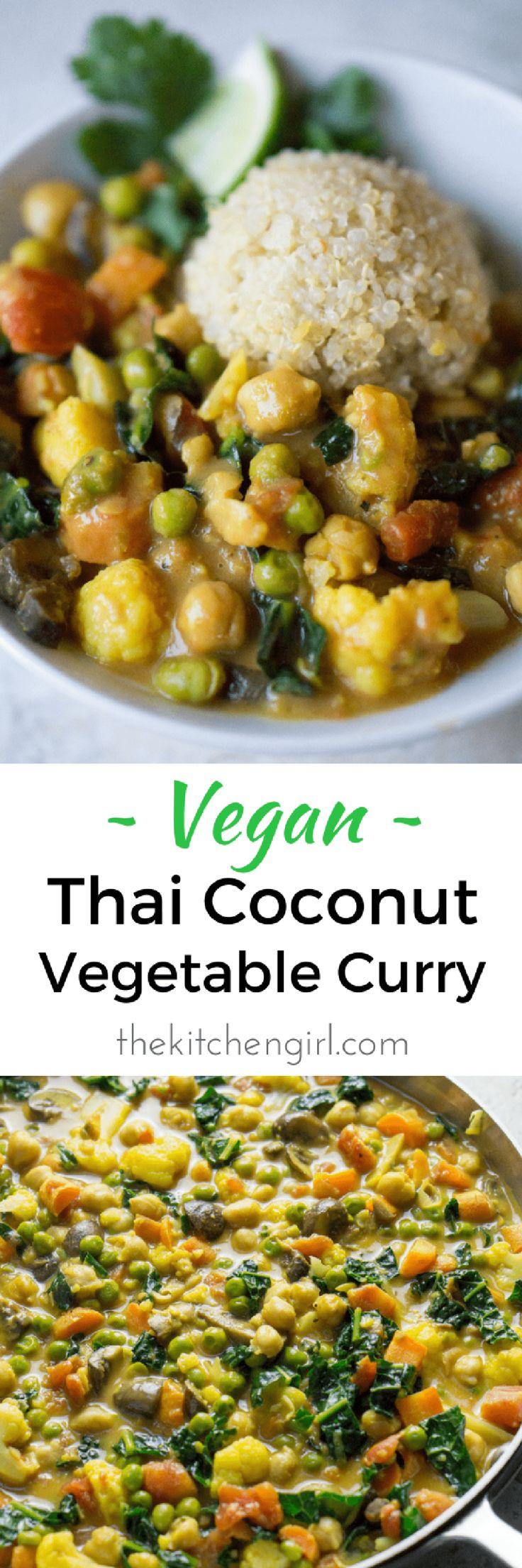 Easy vegan Thai comfort food in 30?…yes plz! Simple veggies, curry powder, and coconut milk. Vegan Thai Coconut Vegetable Curry thekitchengirl.com #vegan #curry #thaicoconut #skilletmeal #glutenfree