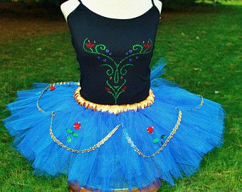 Princess ANNA Inspired Disney Movie Frozen Adult Ladies Womens Childs Running Marathon Tutu Skirt Dress Birthday Party Costume Halloween
