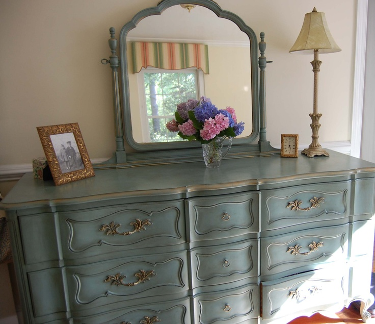Painted this bedroom dresser found at a local used for 1920s bedroom ideas