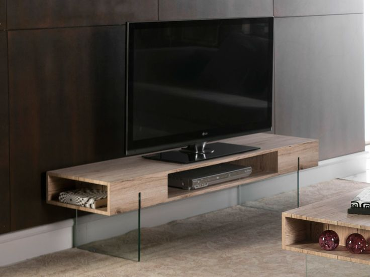 Meuble TV en bois décor San remo et pieds en verre + niches L150cm CHALTEN