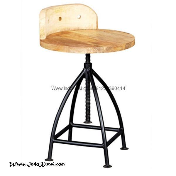 JualKursi Bar Kombinasi Rangka Besimerupakan Produk Furniture Cafe Bar dengan desain Modern Kursi Bar Model Bundar dan Rangka Kaki Besi Yang Kuat Hitam