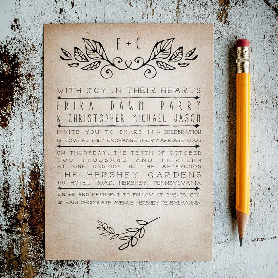 Rustic Wedding Invitation Suite - Laurels, Vintage, Antique, country wedding invitation suite, simple design, program, RSVP cards, insert on Etsy, $2.60