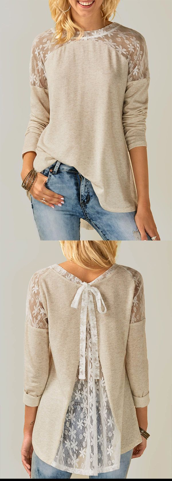 Lace Panel Tie Back Beige Blouse-ROSEWE.COM, free shipping worldwide, check it out.