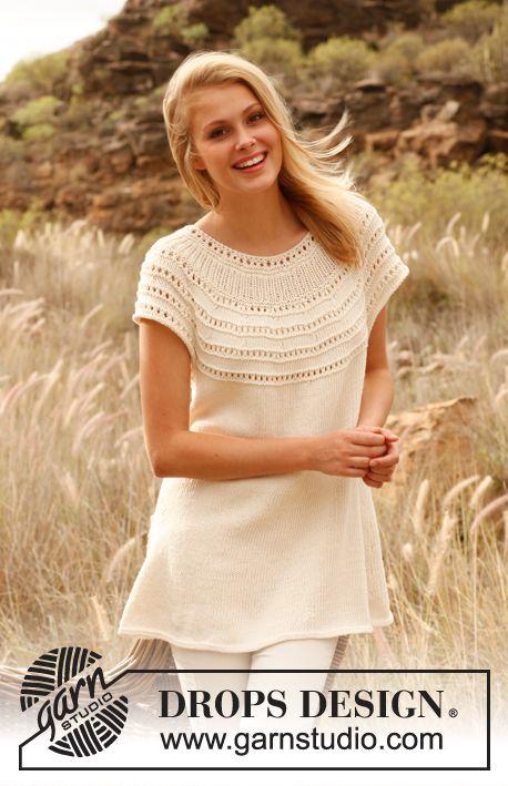"""Gebreide DROPS mouwloze tuniek met ronde pas van """"Cotton Light"""". Maat: S - XXXL. ~ DROPS Design"""