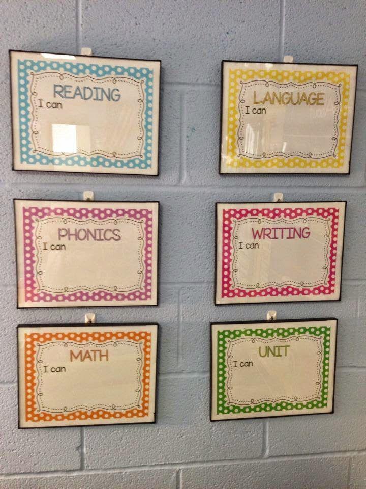 frames for posting objectives (on cinder block!)