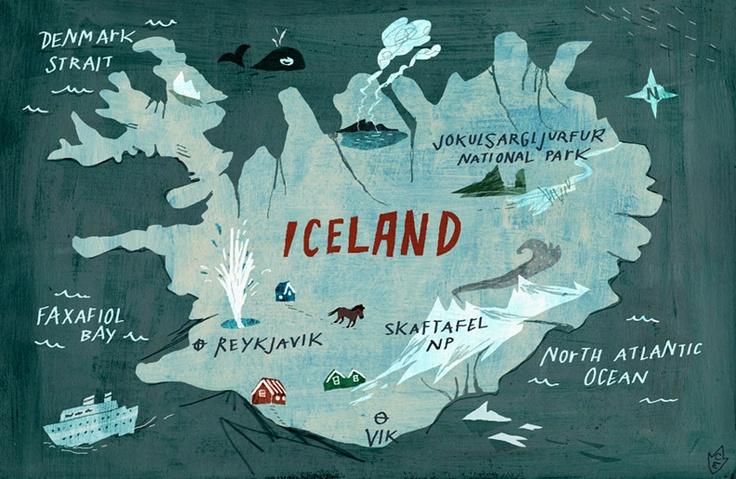 Iceland / one of Christiane Engel's lovely illustrated maps.