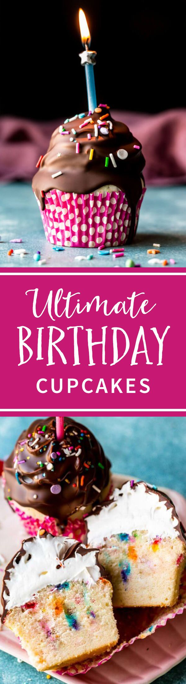 These are the ultimate birthday cupcakes! They start with a funfetti cupcake and are topped with marshmallow frosting and a chocolate shell! Recipe on sallysbakingaddiction.com