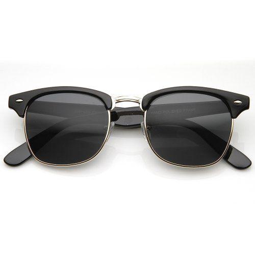 Designer Inspired Classic Half Frame Horned Rim Wayfarer Sunglasses