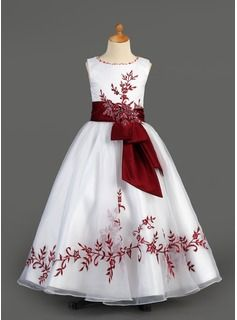 A-Line/Princess Scoop Neck Floor-Length Organza  Satin Flower Girl Dresses With Embroidered  Sash (010005891)