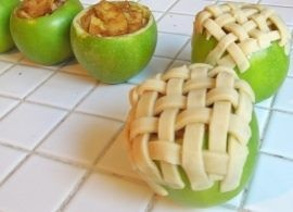 You will need 6 granny smith apples, 1 pie crust, 1/4 cup sugar and 1tablespoon brown sugar. Cut off the top of 4 apples off and discard. Remove the inside of each apple with a spoon very carefully, as to not puncture the peel. Remove skin from 2 additional apples and slice very thinly. These apple pieces will give you filling needed to fill the four apples you are baking. Mix sliced apples with sugars and cinnamon in a bowl. If you prefer more or less cinnamon and sugar, make adjustments as desired. Scoop sliced apples into hollow apples. Roll out pie crust and slice into 1/4 inch strips. You can also add a strip of pastry inside the top of the apple almost like a liner to add a little more texture/sweetness to the pie. Cover the top of the apple in a lattice pattern with pie crust strips. Place apples in an 8×8 pan. Add just enough water to the cover the bottom of the pan. Cover with foil and bake for 20-25 minutes. Remove foil and bake for an additional 20 minutes or until crust is golden brown and sliced apples are soft.Pies Apples, Fun Recipe, Apples Pies, Baking Pies, Apples Apples, Food, Baking Apples, Minis Apples, Apple Pies