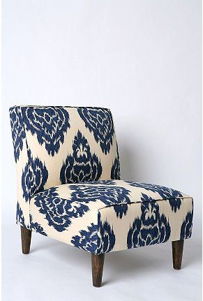 Urban Outfitters Home: Urban Outfitters, Idea, Living Rooms, Blue, Slippers Chairs, Color, Indigo Ikat, Fabrics, Accent Chairs