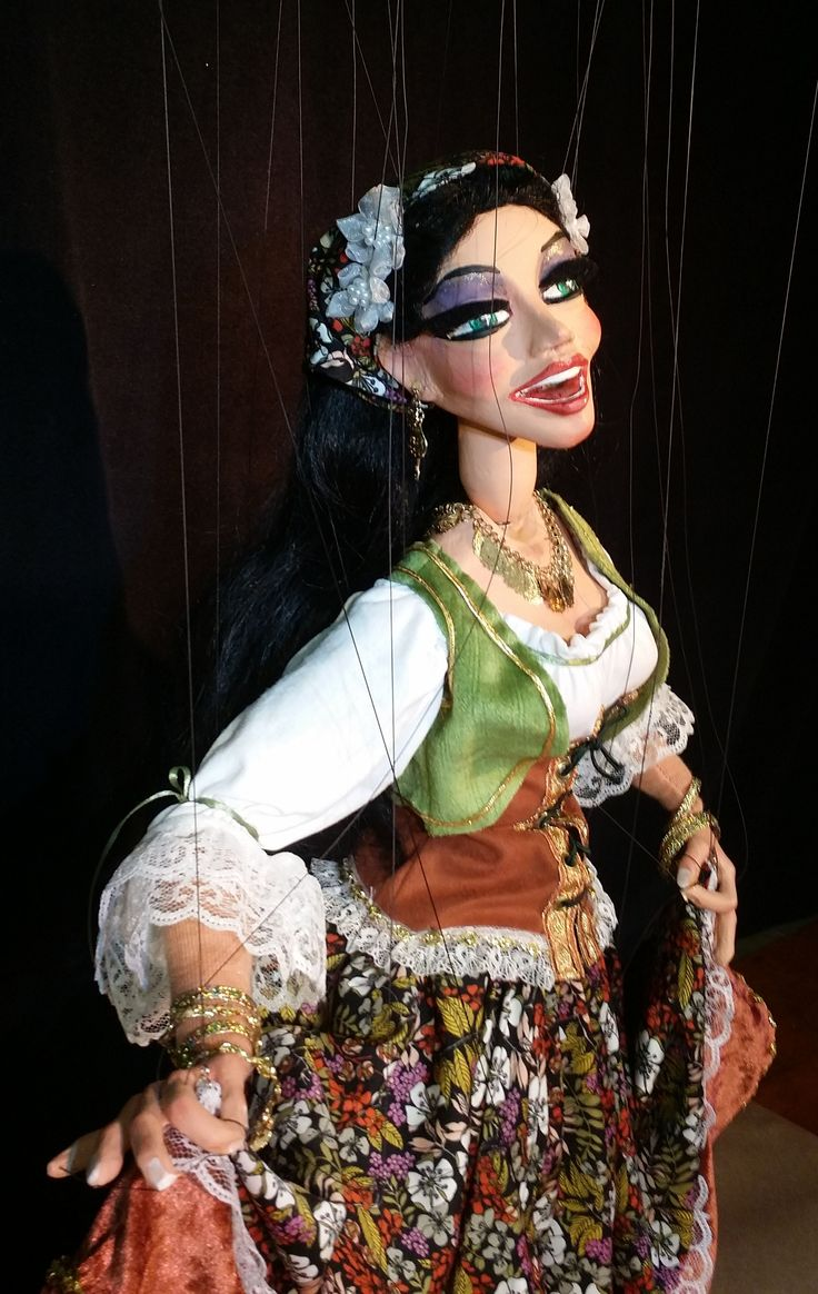 Detail Gypsy Dancer created by Phillip Huber, The Huber Marionettes