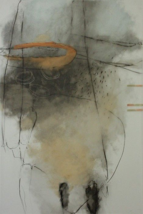 Cheryl Taves, Entrainment. 36 x 24 inches. Oil, graphite and charcoal on Mylar.