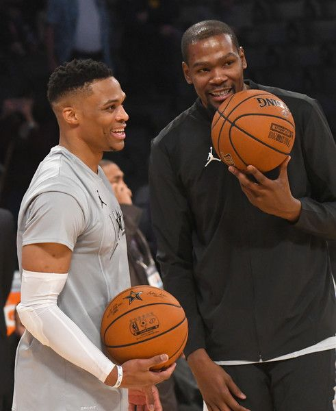 4bfad4ef083 Russell Westbrook Photos - Russell Westbrook and Kevin Durant warm up during  the NBA All-Star Game 2018 at Staples Center on February 18