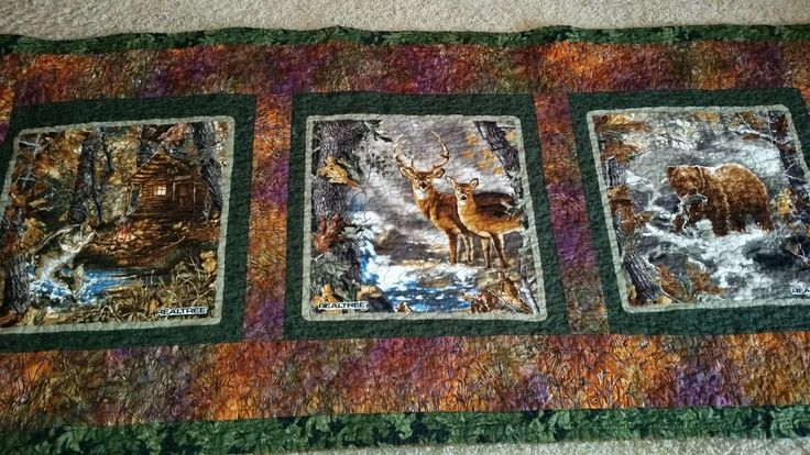 NEW~ HANDMADE ~ WILDLIFE QUILTED TABLE RUNNER~ BEAR~DEER