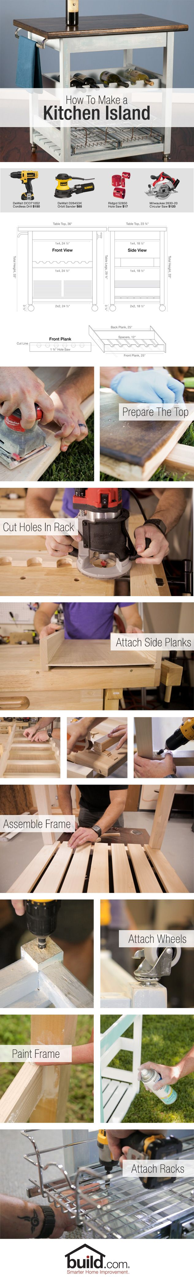 Make a rolling island for your kitchen. Introducing an island to your cook-space can create the utility and style to bring your crafty kitchen to the next level. Check out our how to video and detailed instructions.