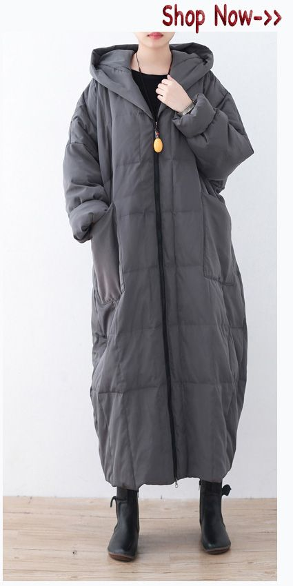 Shop for gray winter parka plus size down coats Parka thick hooded maxi cardigans