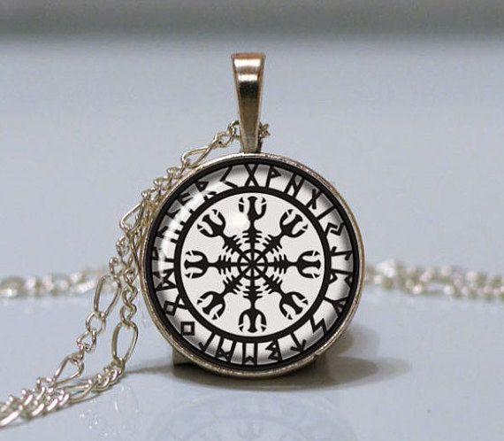 Viking Necklace Helm of Awe Silver Rune Necklace Aegishjalmur Runes Pendant Protection Amulet Viking Jewelry Norse Mythology Asatru