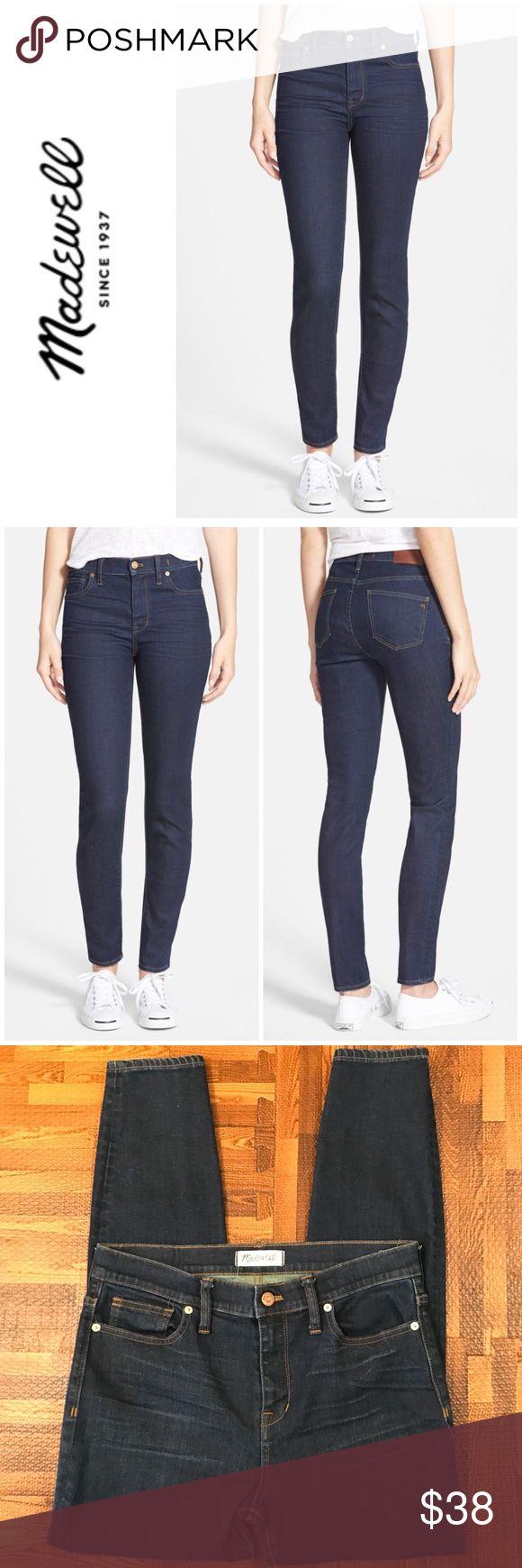 """Madewell High Riser Skinny Jeans """"Lean and sexy with a 9"""" rise (right in '70s rock-muse territory), this one's legs-for-days look and supersleek effect come from using some of the best denim in the world""""  * Premium 92% cotton/6% poly/2% spandex  * Dark indigo wash with a lovingly worn-in look. * Copper button, matte silver rivets, contrast stitching. * Sit above hip, fitted through hip and thigh, with a slim leg. * Front rise: 9""""; inseam: 27""""leg opening for size 25: 10"""". Excellent…"""