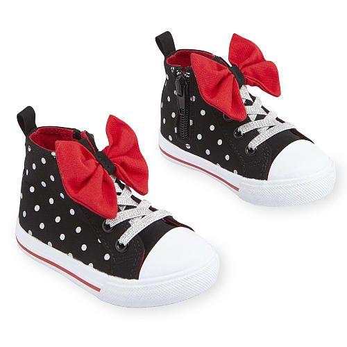 "Disney Girls Black Polka Dot Bow Adorned High Top Hard Sole Sneakers - Babies R Us  - Babies""R""Us"