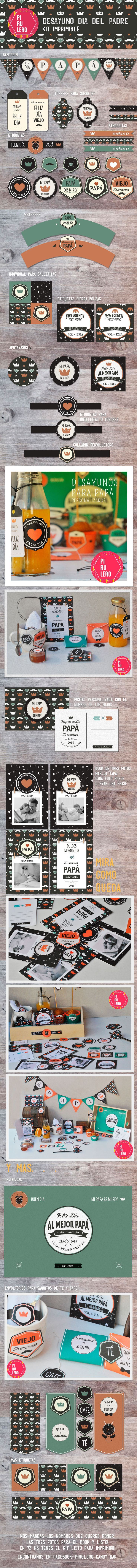 Kit imprimible desayuno dia del padre #fathersDay #papa #diadelPadre #Desayuno…