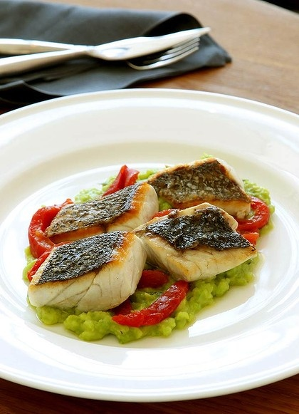 Grilled mulloway pieces with broad bean. tarragon and tomato