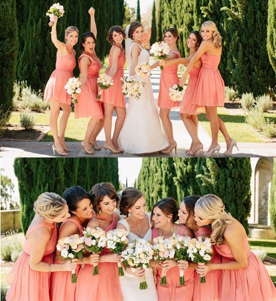 chic coral wedding party for bridesmaid in 2014 australia fall season