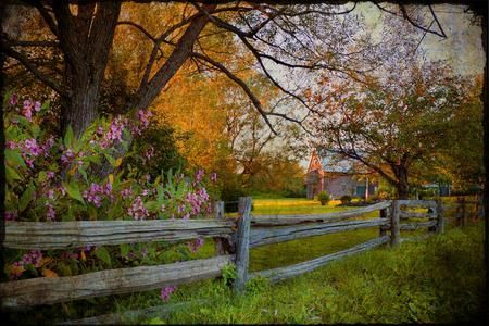 country fence - country, house, fence, beautiful, autumn