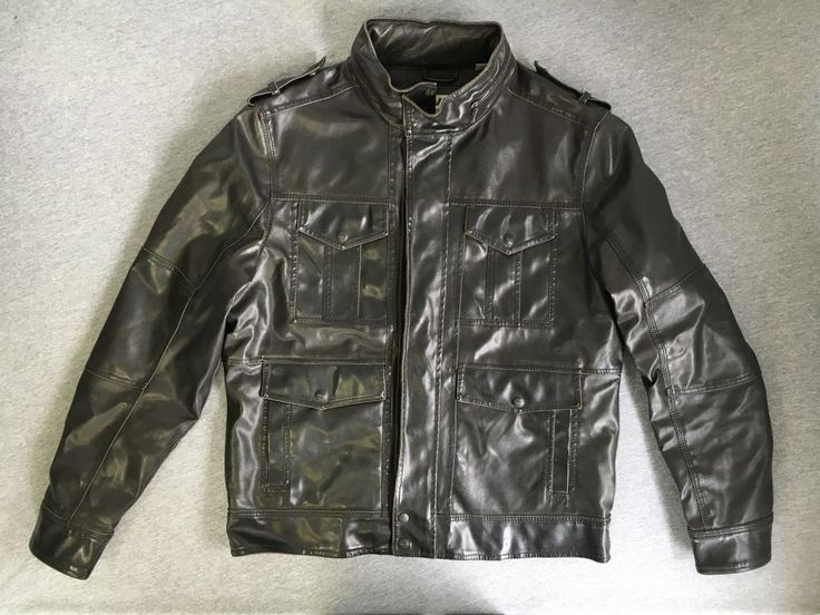 Levis Jacket Faux Leather Motorcycle Bomber Hideaway Hood Brown Medium Excellent #Levis #bomber