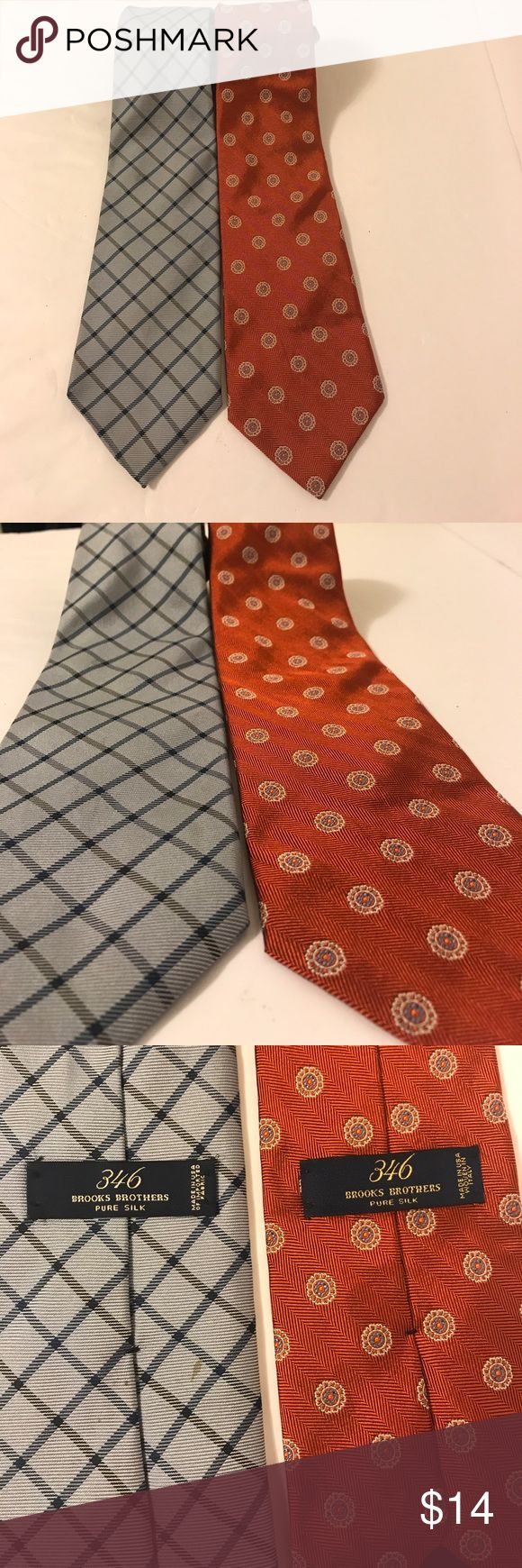 🔥 2 Brooks brother ties! Pure silk 2 ties! Pure silk! The blue tie has a stain on the backside that no one sees ( picture 3) Brooks Brothers Accessories Ties