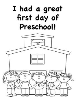 Preschool coloring pages First day and Coloring pages on