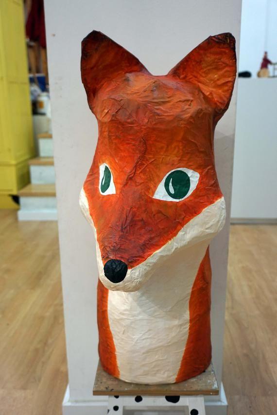 Paper Mache Fox Head Totem Big Franklim Large Paper Sculpture
