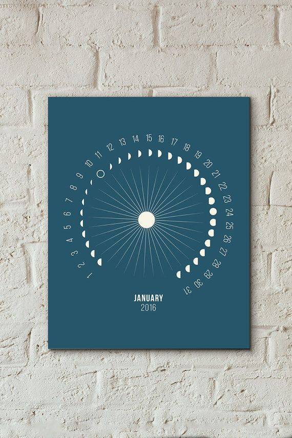 NORTHERN Hemisphere, Printable Moon Calendar, 2016 Moon Calendar, Lunar Calendar, Moon Calendar 2016, Moon Phases 2016, Moon 2016