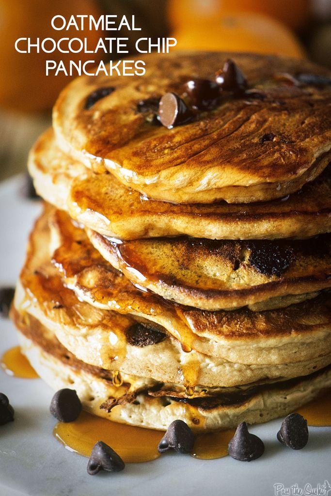 Oatmeal Chocolate Chip Pancakes | PasstheSushi.com