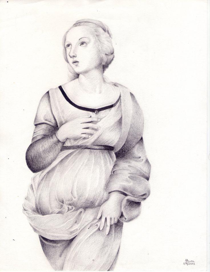 Santa Catalina según Raphael Sanzio. Lápiz sobre papel.