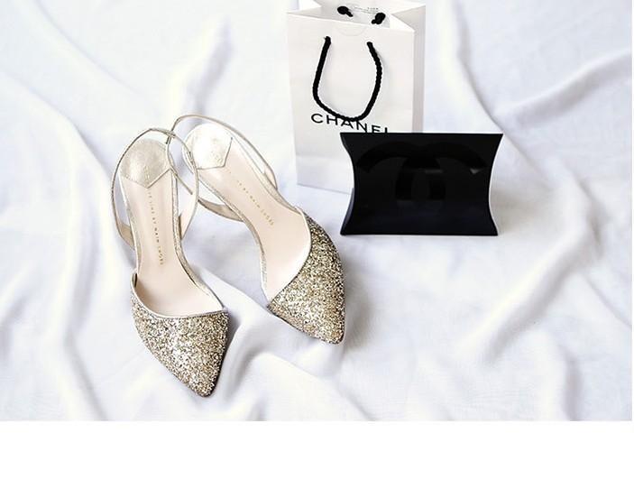 Elegante Color Oro E Color Argento Paillettes Impermeabile Tacchi Alti Le Donne Scarpe Da Sposa Scarpe Da Sposa