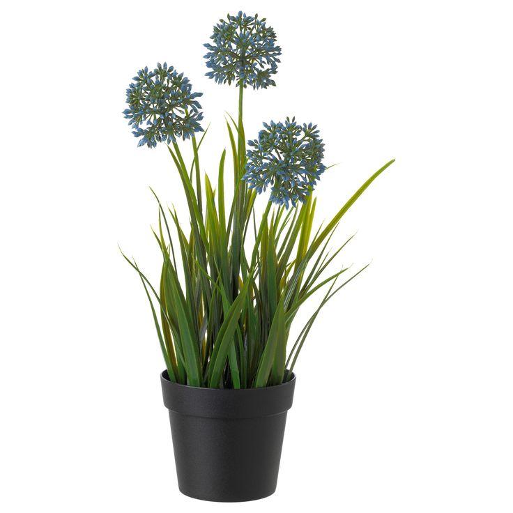 FEJKA Topfpflanze Knstlich Zierlauch Blau