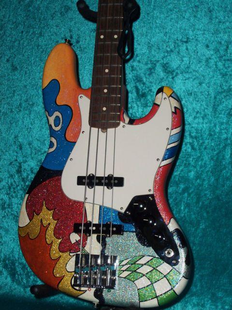 Love the sparkle finish!!!!  Fender USA American Custom Hand Painted Jazz Bass Guitar Vintage design