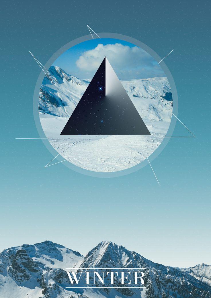 Winter by Axel E: Graphics Design Triangles, Winter Poster, Poster Ideas, Vector Graphics Design Poster, Holidays Poster, Design Ideas, Art Design, Geometric Poster, Graphicdesign Poster