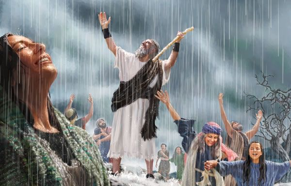 1 Kings 18:1 Jehovah tells Elijah that he will bring an end to the long drought. 1 Kings 18:45 - At last, after three and a half years, rain fell on the soil of Israel.