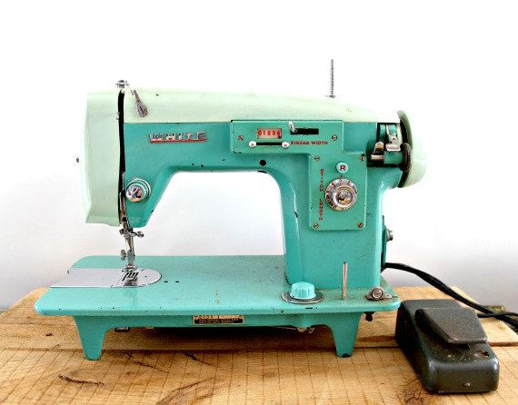 vintage sewing machine, White brand, turquoise, blue, mint green colour, working condition. $295,00, via Etsy.