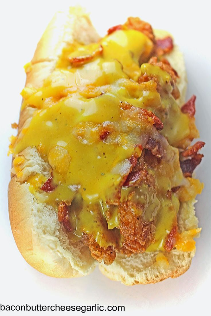 Bacon, Butter, Cheese & Garlic: Southern Bird Dogs...fried chicken strips, bacon, cheese & honey mustard in a hot dog bun!  And my recipe for what I think is spot on Chick fil A strips!