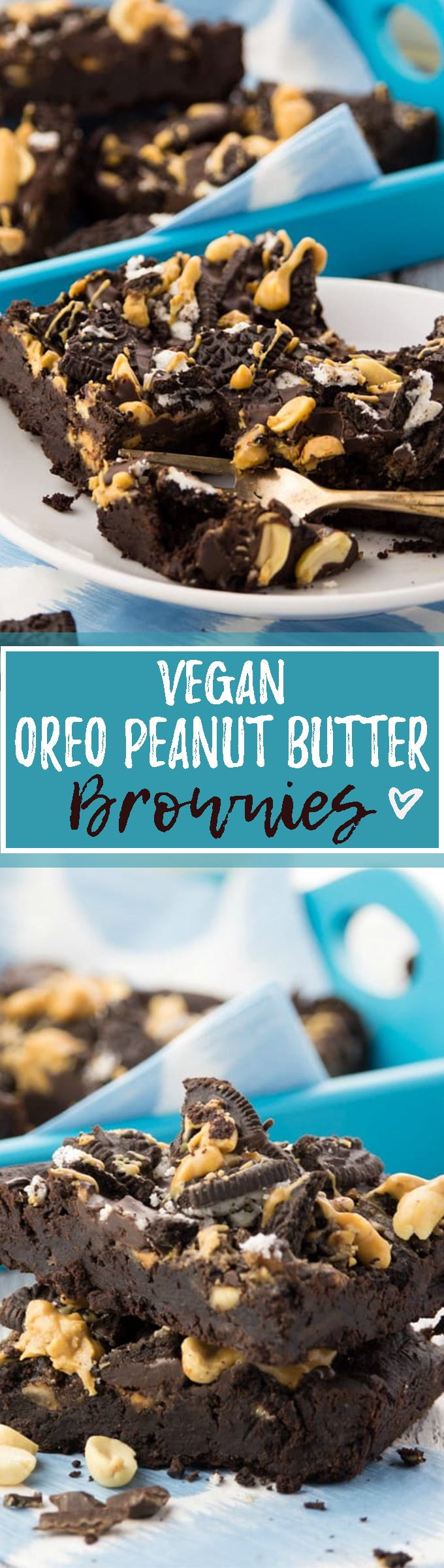 These vegan Oreo peanut butter brownies are super chocolatey, fudgy, and incredibly delicious! Welcome to chocolate heaven! <3   veganheaven.org